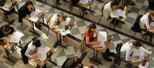 Students sit for the philosophy baccalaureate exam at the French Clemenceau Lycee in Nantes